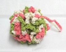 Pink Pouf, Crochet Bath Puff, Cotton Shower Puff, Cotton Bath Scrubbie, Green puff
