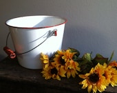Enamelware bucket pail  garden wedding French cottage chic