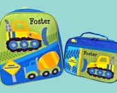 Child's Personalized Stephen Joseph CONSTRUCTION Themed GoGO Backpack and Lunchbox School Set-Monogramming Included In Price