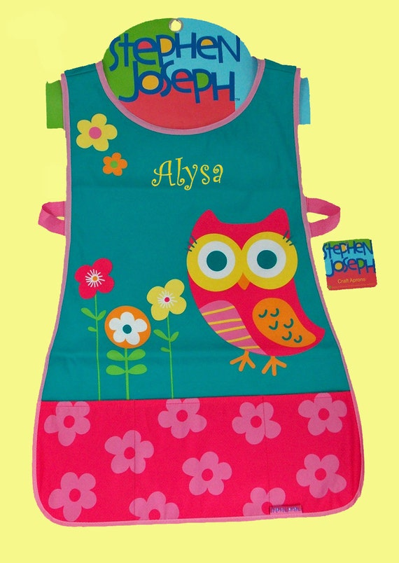 Personalized Stephen Joseph Craft Apron TEAL OWL Themed-Art Smock-Monogramming Included