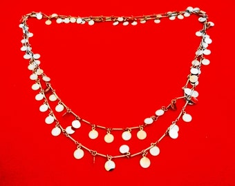 "Vintage silver tone 56"" necklace with hanging round charms in great condition"
