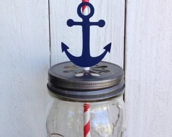25 Nautical Anchor Straws Red White Navy