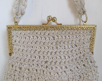Vintage 1960s Italy Crochet Woven Off White Party Purse
