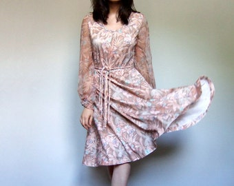 Floral Dress Vintage Pink Beige Sheer Sleeve 70s Summer Sundress Woman- Extra Small XS S