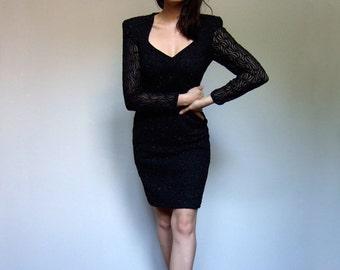 Metallic Black Wiggle Dress Vintage 80s Sheer Long Sleeve Bodycon Party Dress Sweetheart Neckline - Medium M