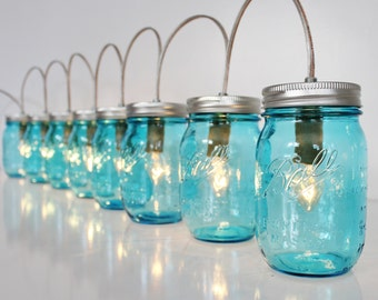 Mason Jar Lamp BANNER Style Lighting Fixture Featuring 8 Blue BALL Pint Jars - Upcycled Rustic Chic Wedding String Of Lights BootsNGus Lamps