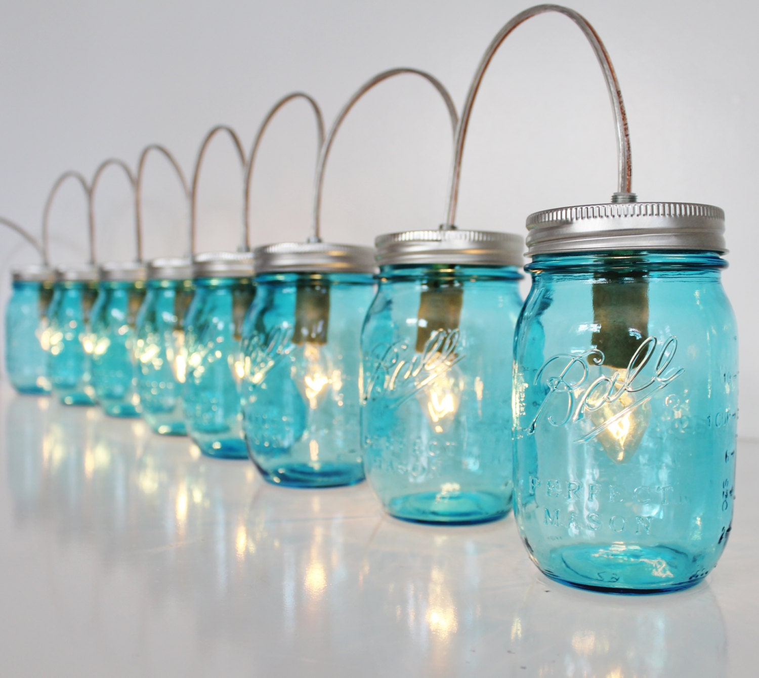 Mason Jar Lamp Banner Style Lighting Fixture Featuring 8 Blue
