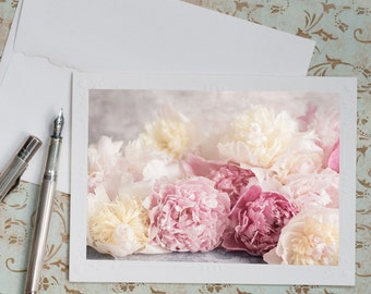 Peonies Photo Notecard - Pink and White Peonies, Note Card, Floral Photo Notecard, Stationery, Blank Notecard