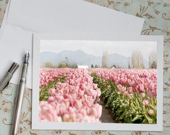 Floral Photo Notecard - Pink Tulips, Greeting Card, Travel Note Card, Stationery