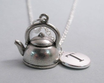 Tea Kettle Tea Pot Necklace, Tea Kettle Charm, Tea Kettle Keychain, Silver Plated Charm, Engraved, Personalized, Monogram Charm