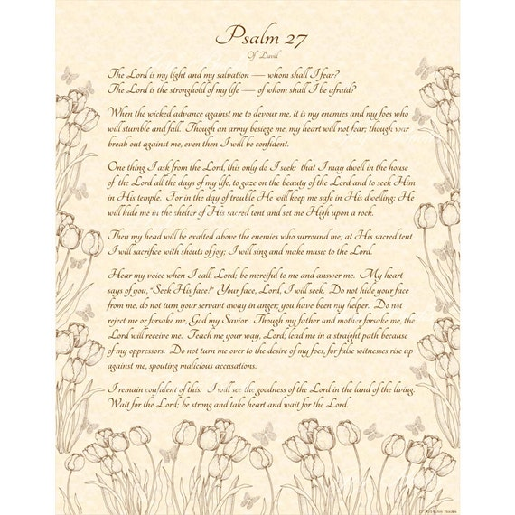 Psalm 27 1 14 Niv Calligraphy Art Print 11x14 On By