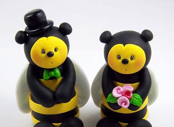 Mr and Mrs Bee, Wedding Cake Topper, Bumble Bee Figurine, Personalized Cake Topper