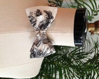 Black and White Skeleton Print Bow Tie
