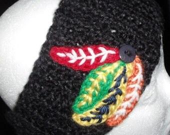 Crochet Headwarmer Headband Headwrap Earwarmer Blackhawks