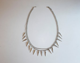 Icicle necklace - double chain necklace - one of a kind - silver plated - 50 cm