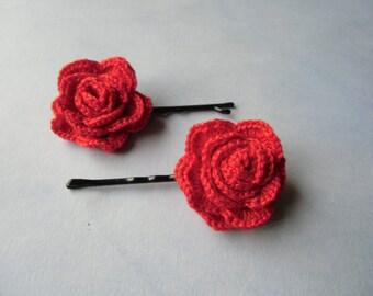 2 x red crochet rose hair pins. Hair accessories.