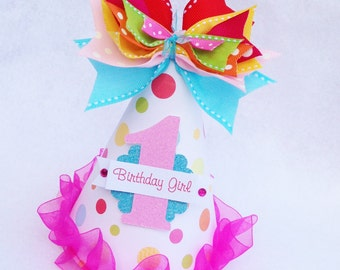 Candyland Birthday Party Hat in Pink, Aqua, Light Pink, Yellow, Orange and Lime polka dot Candy Land