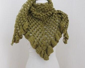 Beautiful Triangle Shawl, Neckwarmer in Napier Green, Olive, Green, Crochet Shawl, Trendy