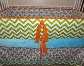 CHEVRON BOY Bumper Pad Baby Crib Set  lime orange turquoise deposit