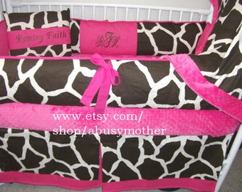 Giraffe Hot pink 3 PIECE  Bumper Pad Baby Crib Set DEPOSIT Down payment Only Read details