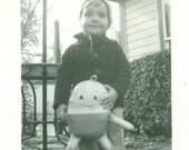 1939 Humpty Dumpty Stuffed Toy Little Boy Standing Outside 1930s Vintage Black White Photo Photograph