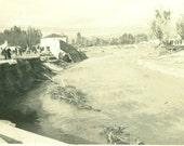 Flood Damage House in Creek Broken Bridge Over River After The Storm Vintage Black White Photo Photograph