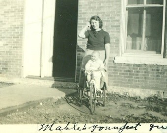 Baby Girl on Tricycle Betty Jane at Ft Sneeling MN 1930s  Antique Vintage Black and White Photo Photograph