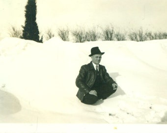 Man Sitting in Snow Pipe in Hand Smoking Winter 1940s Vintage Black White Photo Photograph