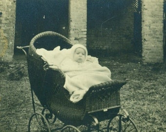David Morris Baby Boy Sitting in Wicker Carriage RPPC Real Photo Postcard Vintage Black White Photo Photograph