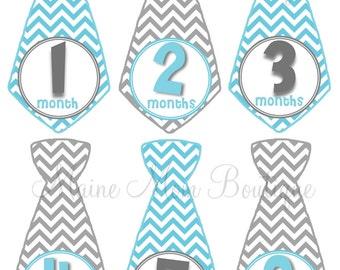 FREE GIFT, Baby Monthly  Tie Stickers Boy,  Month Baby Stickers,  Milestone Bodysuit Photo Blue Grey Tie Stickers Photo Prop