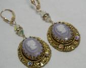 Cameo Earrings 14k Gold Filled German Glass Filigree Rhinestone Drops Upcycled Vintage OOAK