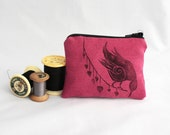 Pink and black bird, small lined hand-printed cosmetic pouch with zipper