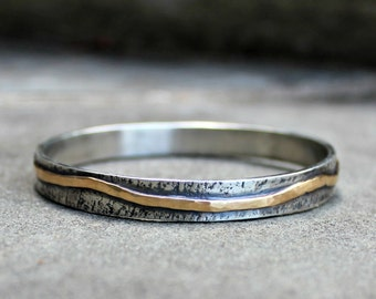 Silver and Gold Bangle - Sterling Silver 14 Kt Gold Bangle - Rustic Silver Gold Bangle - Heavy Sterling Gold Bangle - Silver Gold Bracelet