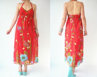 Vintage 70's Bright Red Floral Backless Maxi Dress / Halter Neck / Side Slits