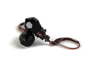 Sale Clearance 20% OFF - Black tear drop and antique copper leverback earrings READY to ship (212)