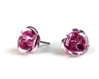 Dark pink aluminum rose flower hypoallergenic studs earrings (227) - Flat rate shipping