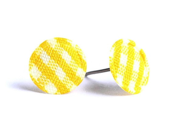 Yellow and white plaid round dot padded fabric stud earrings READY to ship (338) - Flat rate shipping