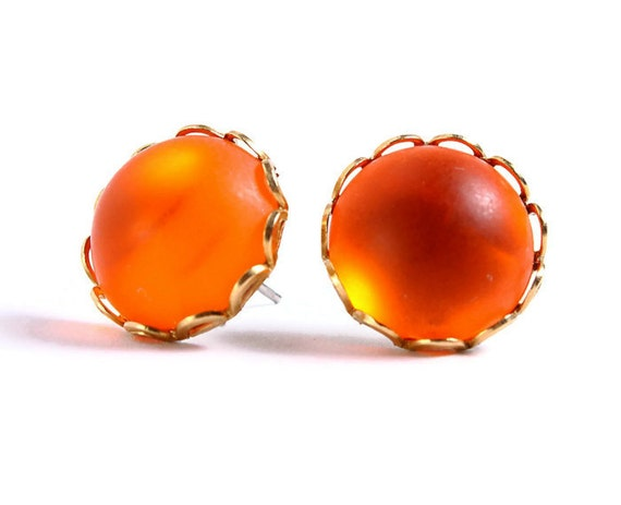 Matte frost orange hypoallergenic surgical steel post earrings READY to ship (405) - Flat rate shipping