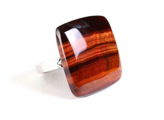 Unique natural brown Tiger eye adjustable silver ring OOAK (767B) - Flat rate shipping