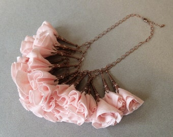Pale Pink and Antique Copper Fabric Rosette Statement Necklace