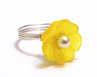 Yellow Lucite Flower Wire-Wrapped Ring with Glass Pearl Center - Custom Colors and Sizing