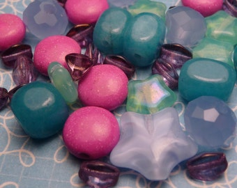 Star Glass and Stone Bead Mix 50 pc