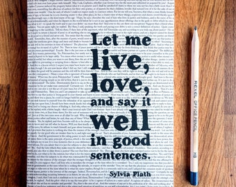 Writing Journal with Sylvia Plath quote graduation gift notebook
