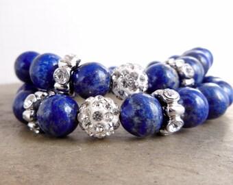 Lapis Lazuli Bracelet, Big Beaded Stretch Bracelet, Sparkling Rhinestone, Dark Blue Beads, Chunky look Jewelry