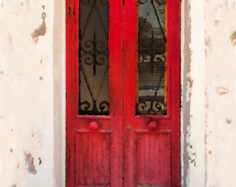 Italy Photography, Red Door Photo Architecture Detail Old Shabby Chic Wall Art Home Decor Fine Art Print ita114