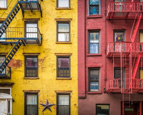New York Photography Yellow Red Apartment Building Soho