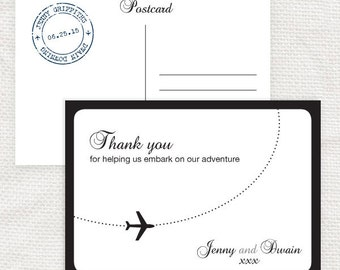 come fly with me wedding thank you card - printable file - aviation airplane wedding postcard