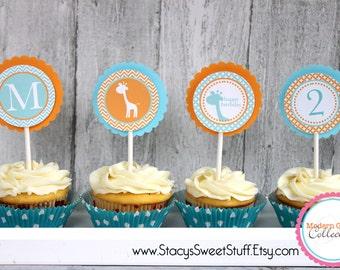 Giraffe Birthday Cupcake Toppers (blue), DIY, Printable