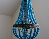 Mini Turquoise Wood Beaded Empire Chandelier MADE TO ORDER