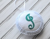 Embroidered Felt Ornament - Personalized - Door Hanger - Initial - Monogram - Small Plush Pillow - Decoration - Teal Letter J